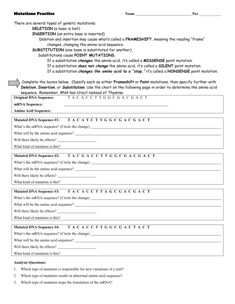 File Intended For Dna Mutation Practice Worksheet Answers