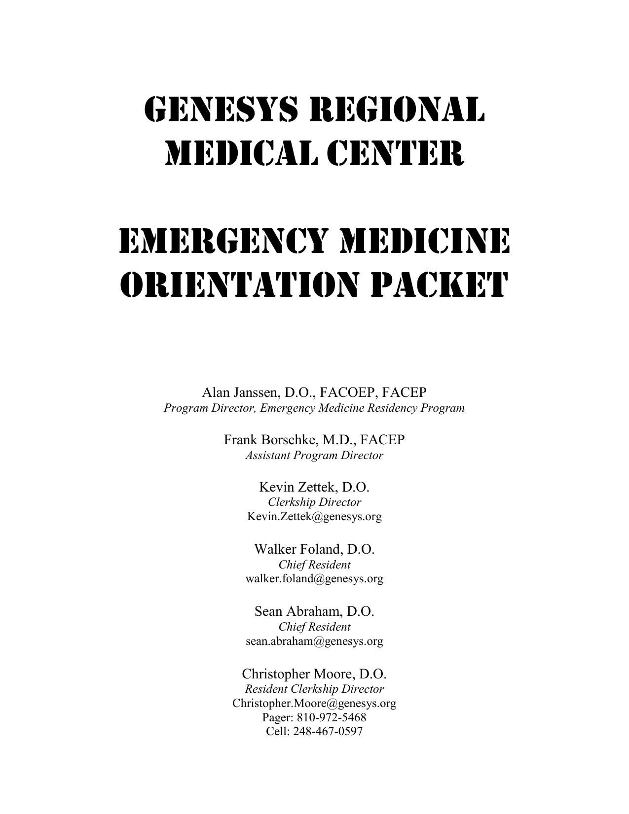 EMERGENCY MEDICINE - Genesys Regional Medical Center