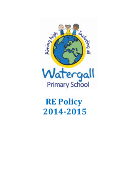RE policy Oct 2014 - Watergall Primary School
