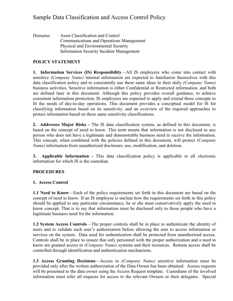 Sample Data Classification And Access Control Policy