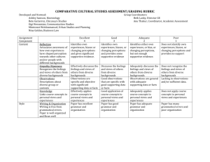 Comparative Cultural Studies Assessment and Grading Rubric.