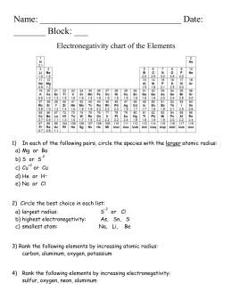 electronegativity and radii practice - Periodic Table Of Increasing Atomic Radius