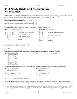 11-1 Study Guide and Intervention Inverse Variation