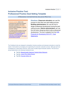 Inclusive Practice Tool: Professional Practice Goal Setting Template