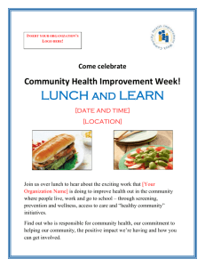 Lunch-n-Learn - Association for Community Health Improvement