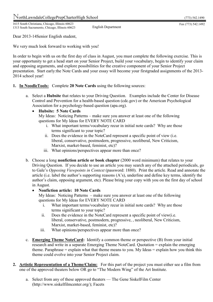 Essay On English Literature  Computer Science Essay also English Essays Samples North Lawndale College Prep Charter High School Narrative Essay Thesis