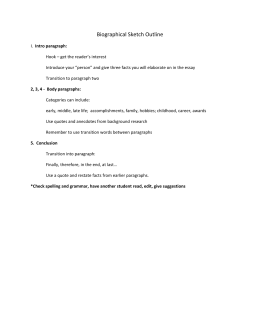 Biographical Sketch Outline