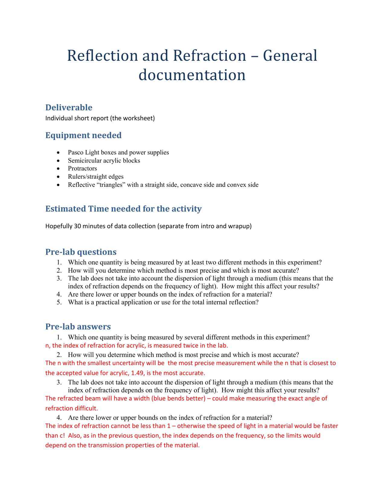 Reflection Refraction Documentation