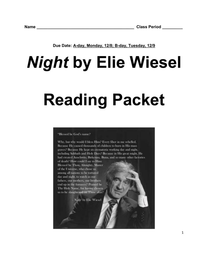 Night By Elie Wiesel Reading Packet Gallery Walk