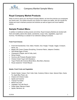 Sample Product Menu