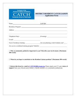 DISTRICT RESIDENT CATCH LIAISON Application Form