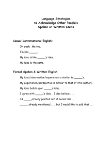 Language Acknowledgement Ideas