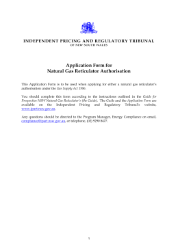 Application form for Natural Gas Reticulator Authorisation