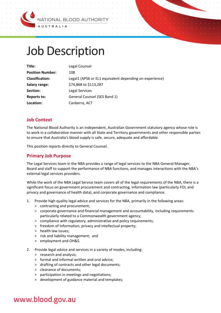 Job Description: Legal Counsel