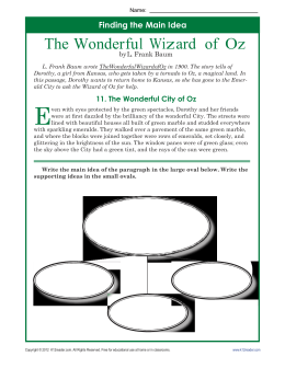 Main Idea Worksheets | The Wonderful Wizard of Oz
