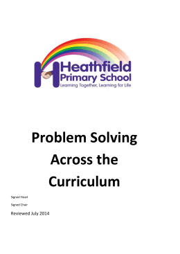 Problem Solving Across the Curriculum 2013