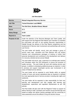 Job Specification for NM483 - Trainer Volunteer Co-ordinator