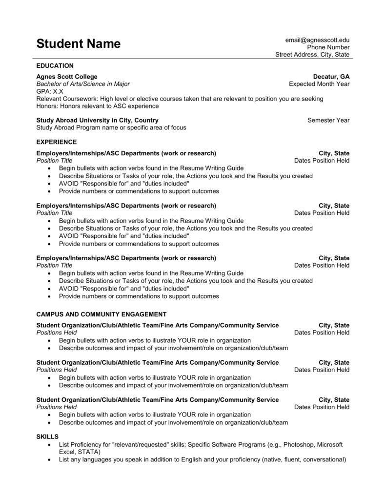 Resume Templates Agnes Scott College