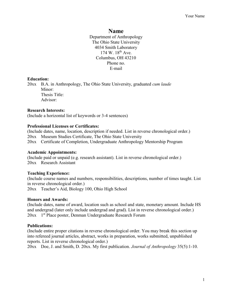 Cv Template Undergraduate Research