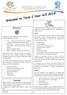 Welcome to Term 2 Year 4/5 2014!