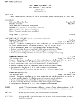 HRSM 301 Resume Template FIRST NAME and LAST NAME Street