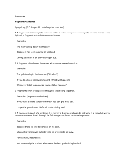 Fragments Fragments Guidelines 1 page long (ELC charges 10
