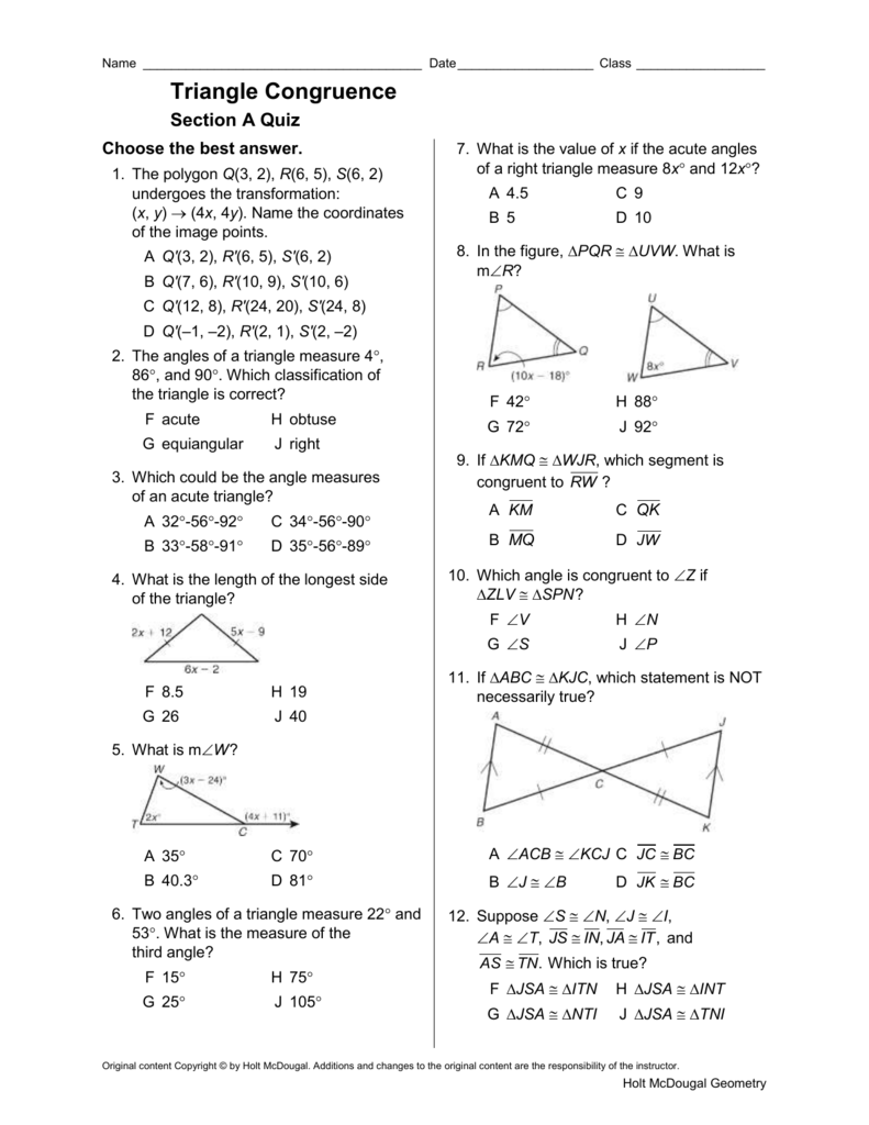 Triangle Congruence Section A Quiz