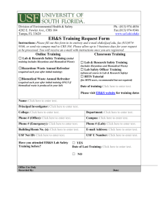 EH&S Training Request Form