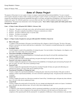 Game project rubric and due dates