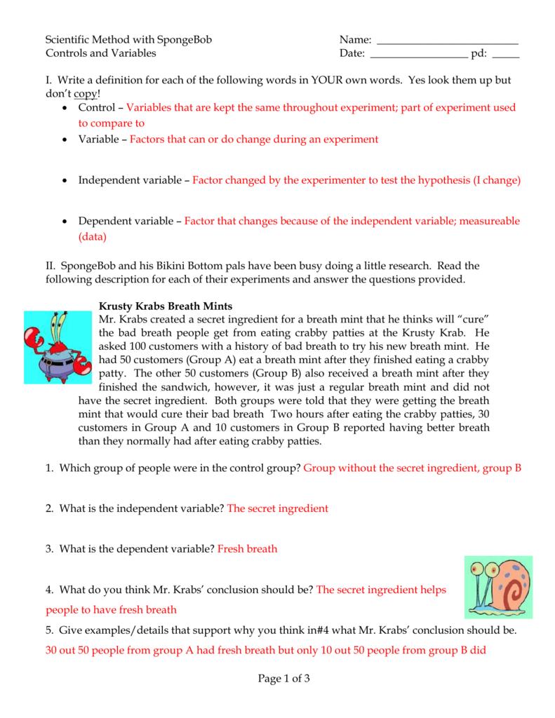 Worksheets Spongebob Science Worksheet 10 scientific method with spongebob