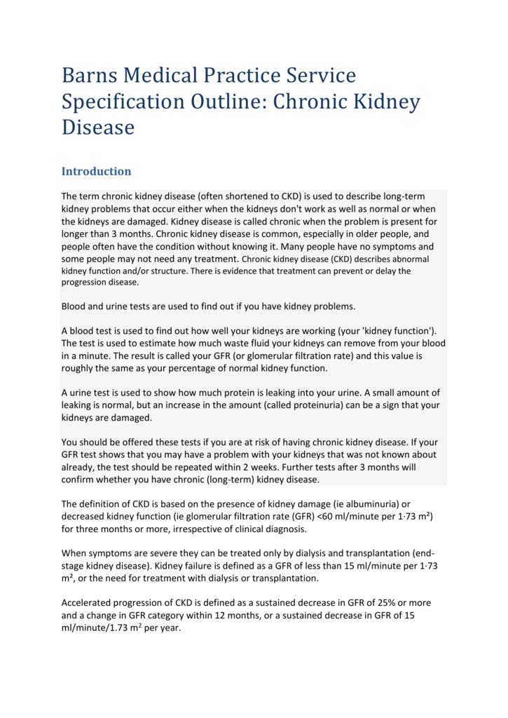 Chronic Kidney Disease Specification 2015