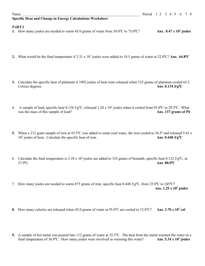 Specific Heat and Energy Calculations Worksheet – Specific Heat Problems Worksheet