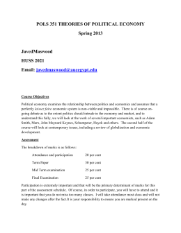 POLS 351 THEORIES OF POLITICAL ECONOMY Spring 2013