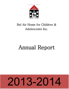 Annual Report of - Bel Air Children`s Home