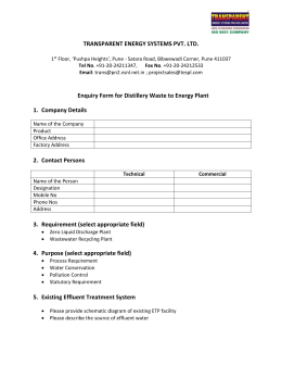 Enquiry Form For Waste Water Recycling Plant