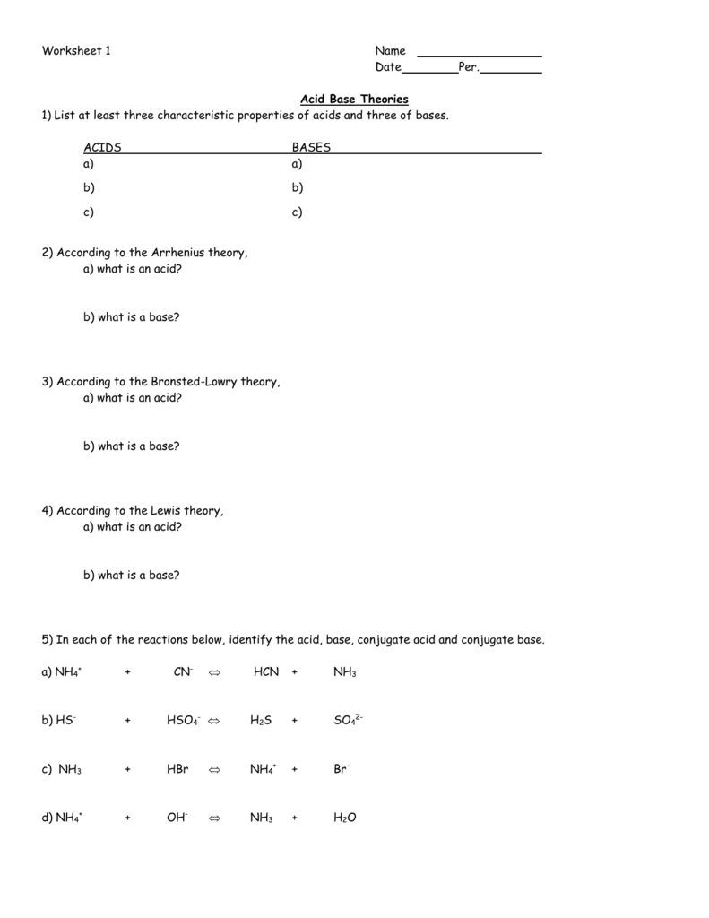 Ph And Poh Continued Worksheet Answers Livinghealthybulletin