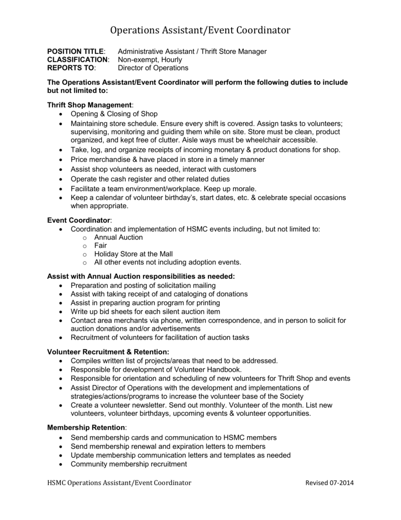 Operations Assistant/Event Coordinator