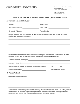 Application for Use of Radioactive Materials, Devices and Lasers