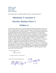 Module 7 Lesson 1 Circles Video 1 Transcript