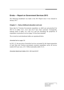 Errata - Chapter 3: Early childhood education and care