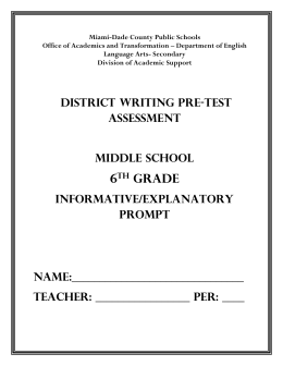 District Writing Pre-Test Assessment- Middle School