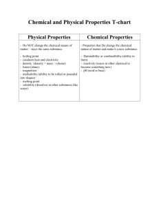 Chemical and Physical Properties T