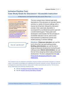 Case Study Goals for Discussion*Accessible Instruction