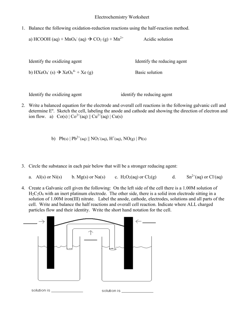worksheet Electrochemistry Worksheet file