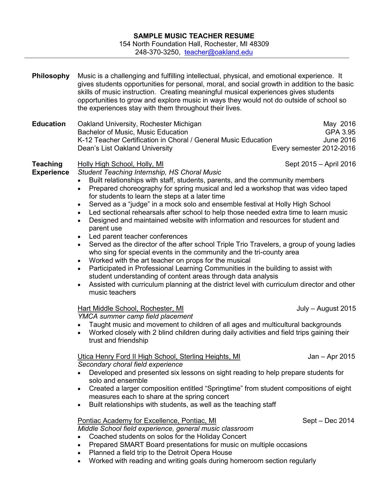 Sample K 12 Music Education Resume