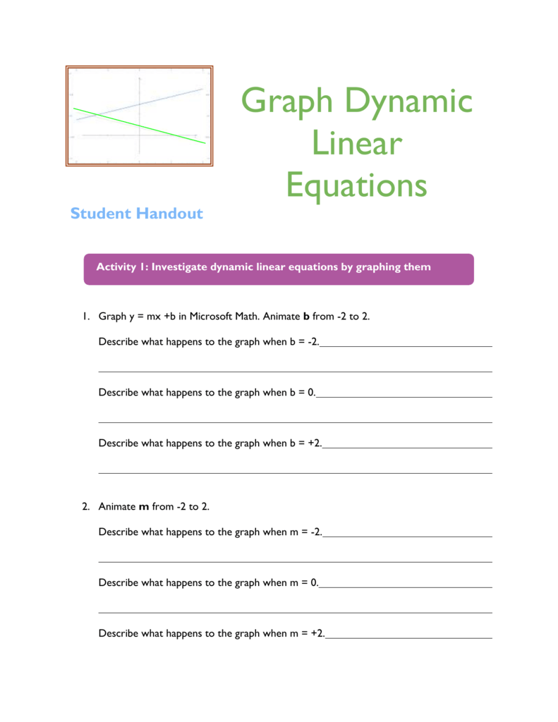 Dynamic Linear Equations Student Handout