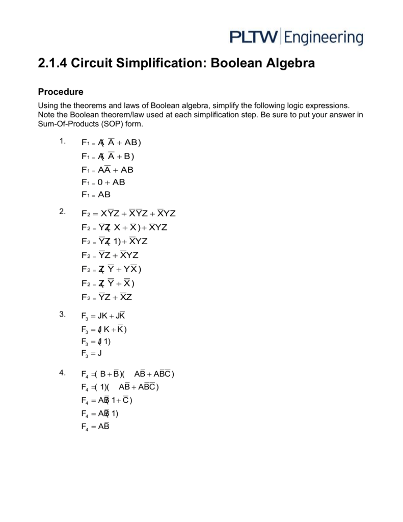Activity 214 Boolean Logic