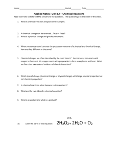 Applied Notes: Unit 6A—Chemical Reactions