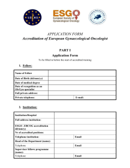 Application for accreditation of European Gynaecological Oncologist