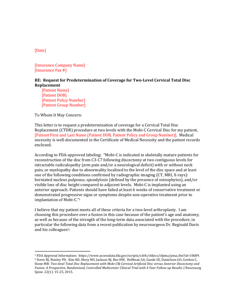 Physician Predetermination Request Letter: Mobi C Two